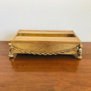 Vintage gold chain ornate vanity tissue box